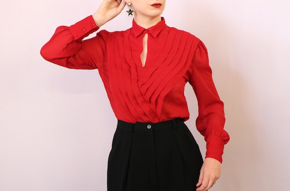 1980's Paneled Blouse/1980's Sheer Red Blouse/198… - image 2