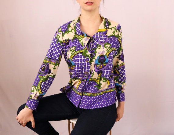 1970's Psychedelic Blouse/1970's Polyester Shirt/1