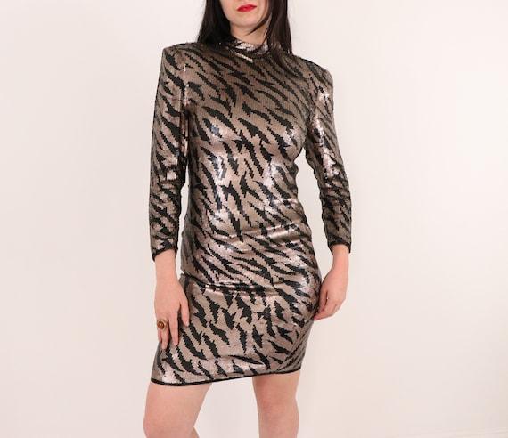 1980's Sequins Dress/1980's Evening Dress/1980's … - image 2
