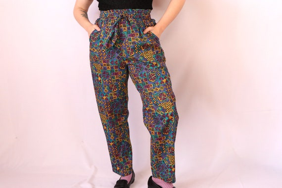 1980's Abstract Pants/1980's High Waist Pants/80's