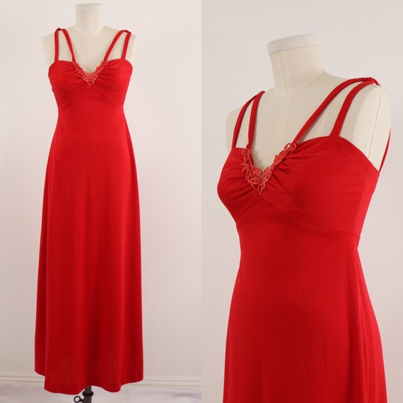 1970's Disco Dress/1970's Red Maxi Dress/Lipstick… - image 1
