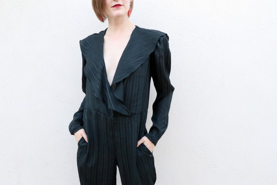 1980's Black Jumpsuit/1980's Jumpsuit with Pockets