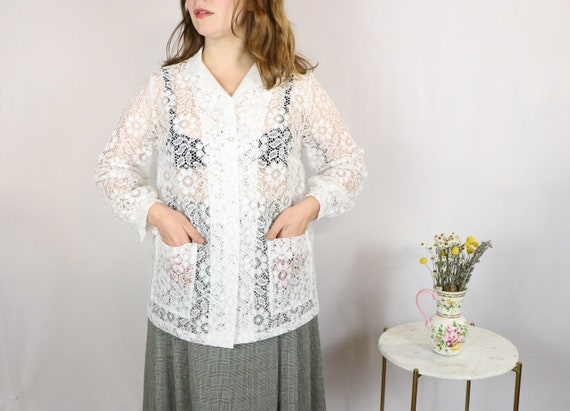 1970's Tunic Top/1970's White Lace Blouse/1970's W