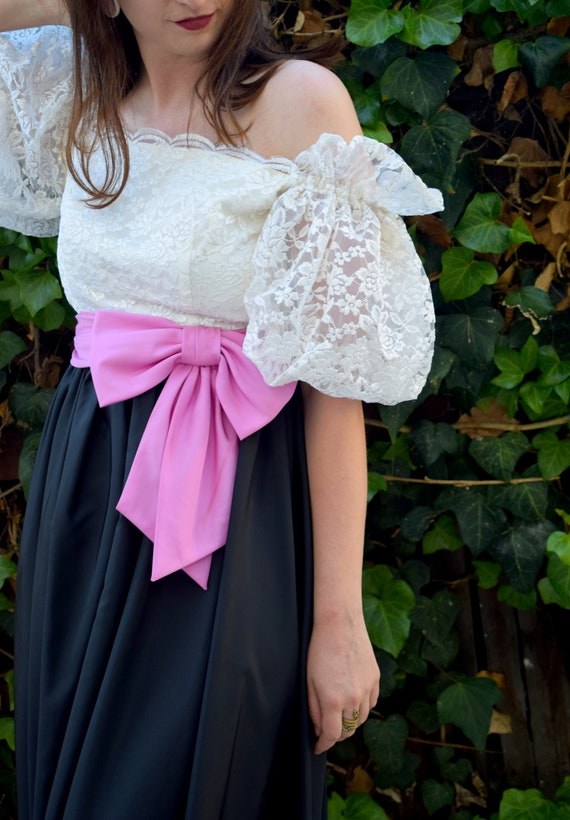 Statement Sleeves/1980's Party Dress/1980's Cockt… - image 3