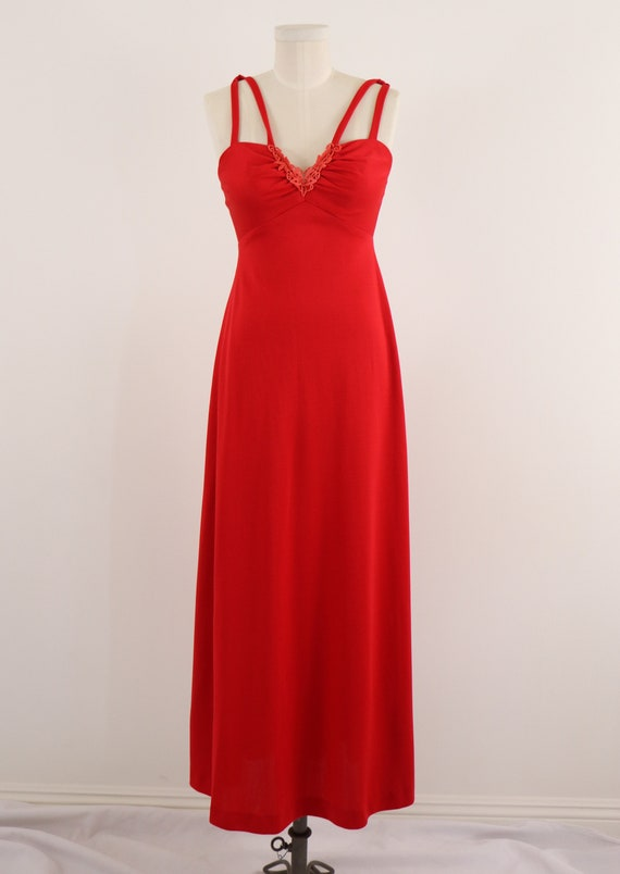 1970's Disco Dress/1970's Red Maxi Dress/Lipstick… - image 2