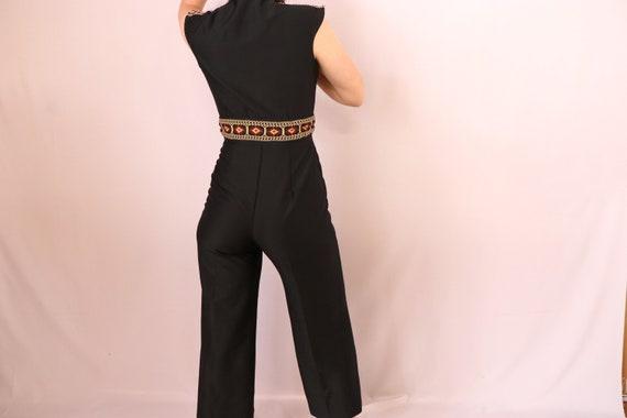 1970's Black Jumpsuit/1970's Wide Leg Jumpsuit/19… - image 7