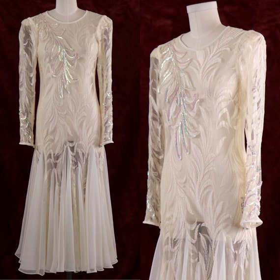 1980's Evening Dress/Mermaid Evening Dress/White E
