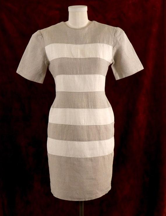 1980's Minimalist Dress/1980's Linen Dress/1980's… - image 2