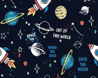 Outer Space Kona Cotton Cotton Spandex Jersey Knit GLX2 Planets 100/% Organic Interlock Knit cotton Galaxy Fabric Solar System