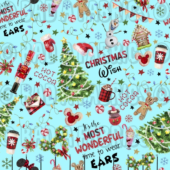 Christmas Theme Park Wishes Fabric Cotton Lycra Bullet Cotton Etsy