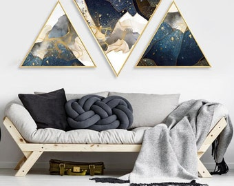 Abstract Triangle View Canvas Art Photo Printed Home Wall Decor Hallway Framed Creative Hang Painting Living Room Sea