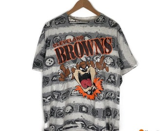 4f4cd31bde04 VTG Taz Looney Tunes Cleveland Browns NFL T shirt | Vintage 90s Single  Stitch Tee Sports Cartoon | Mens Size XL Extra Large | Changes Tee