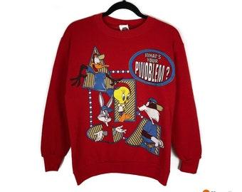 6980b4c76 VTG Looney Tunes Crewneck Pullover Sweater   Vintage 90s Cartoon Red  Sweatshirt   Mens Size Medium M   Vintage Streetwear Fashion