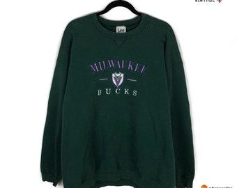 5b17b56bae6d Vintage Milwaukee Bucks Lee Sport Pine Green Nba Crewneck Sweater Size 2XL