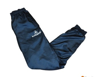 7a781d3b9fa Le Coq Sportif Trackpants Windpants Cuffed | Navy Blue Nylon Satin Slim  Tapered Fit | Mens Size Small S | 90s Streetwear Vintage Fashion