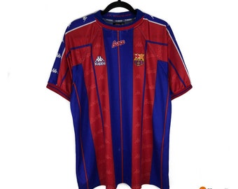 8b088f9a30 VTG Fc Barcelona Jersey 90s Kappa Kit Barca | Futbol Football Soccer  Uniform La liga | Mens Size XL Extra Large | Streetwear Fashion