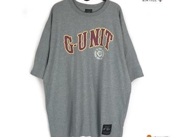 5560156cc G unit Gray Short Sleeve T Shirt Spellout 50 Cent Size 2XL