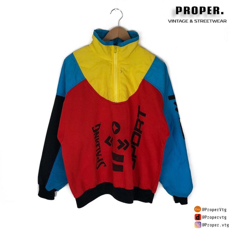 Vintage 90s Colorblocking Style Fashion Mens Size Large L VTG Spalding Sport Quarter Zip Sweater