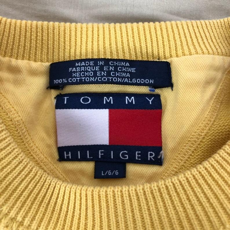 Vtg Vintage Tommy Hilfiger Crewneck Pullover Sweater Yellow 90s Streetwear Mens Size Large