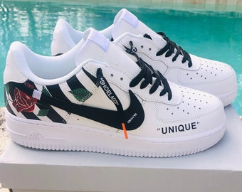 c06668790fbf36 Nike Air Force 1 x Off White Inspired Custom Design Men Women Sizes  Designer Luxury Brand AF1