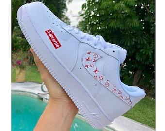 big sale 91245 eb5dc Nike Air Force 1 x L red V Sup Inspired Custom Design Men Women Sizes  Designer Luxury Brand AF1