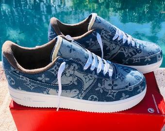 0124a2bae13b Nike Air Force 1 x LV Denim Inspired Custom Design Men Women Sizes Designer  Luxury Brand Supreme Off White Virgil Abloh louis vuitton AF1