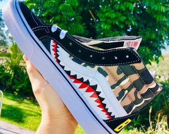e9b14e4e8 Vans Sk8-Hi x BAPE Star shark Inspired Custom Design camo Shoes Men Women  Sizes Skateboarding Designer Luxury GG Virgil Abloh camouflage