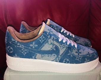 low cost a3263 c09ec Nike Air Force 1 x LV Denim Inspired Custom Design Men Women Sizes Designer  Luxury Brand Supreme Off White Virgil Abloh louis vuitton AF1