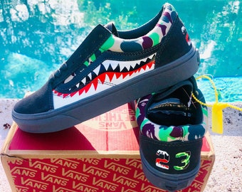 9233f6f0271e8 Vans Old Skool x BAPE 23 shark Inspired Custom Design gray Shoes Men Women  Sizes Skateboarding Designer Luxury GG Virgil Abloh
