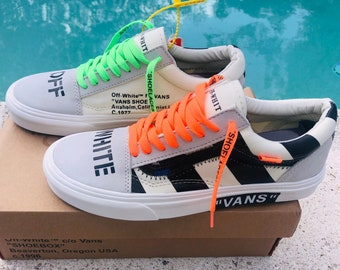 Vans Old Skool x Off White Orange Green Inspired Custom Design Shoes Men  Women Sizes Old Skool Skateboarding Designer Luxury GG Virgil Abloh 0acd83c8036e