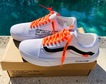4dddaf7bb698 Vans Old Skool x Off White White Inspired Custom Design Shoes Men Women  Sizes Old Skool Skateboarding Designer Luxury GG Virgil Abloh