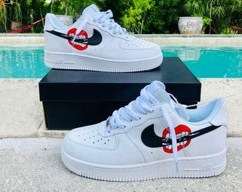 new product 2debd 75f90 Nike Air Force 1 x Custom Design Inspired Men Women Sizes Designer Mouth  Rolling Luxury Brand AF1 GG