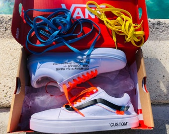 85dd992175 Vans Old Skool x Off Inspired Custom Design Shoes Men Women Sizes Old Skool  Skateboarding Designer Luxury GG Virgil Abloh
