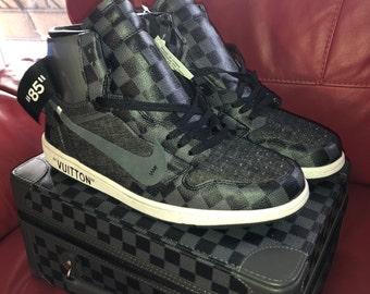 Air Jordan Retro 1 x LV Inspired Custom Design Men Women Sizes Black  Designer Luxury Brand Checkered Off White Virgil Abloh louis vuitton 2134fb01f3