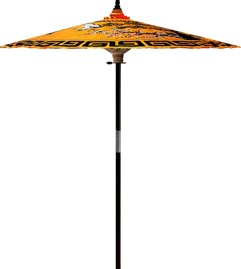 7ft Orange Two Cranes Hand-painted and Handmade Outdoor Garden Umbrella Handmade From Bamboo and Hardwood Patio Umbrella