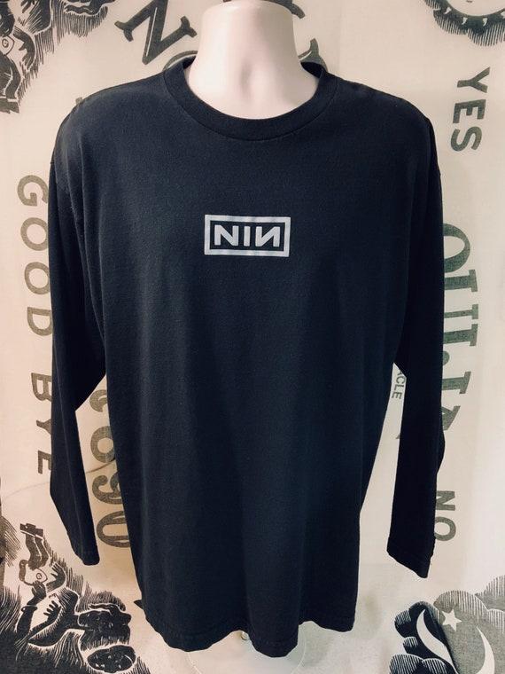 Nine Inch Nails T shirt Nine Inch Nails The Downward Spiral Album Artwork with NIN Logo. Men's Black Shirt