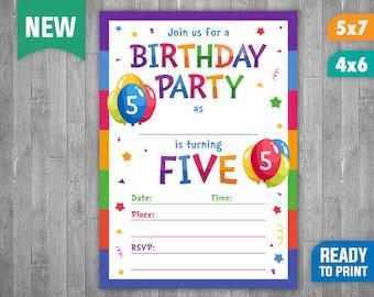 5th Birthday Invitation - Fill In Invitation - 5th Birthday Party Invite - 5 Years Old Birthday Invitations for Boys or Girls - Rainbow