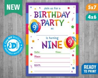 9th Birthday Invite