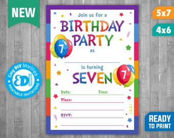 7th Birthday Invite