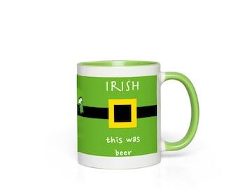 Irish This Was Beer Green White Ceramic Accent Mug Yellow White Mug St Patrick'S Day Gift