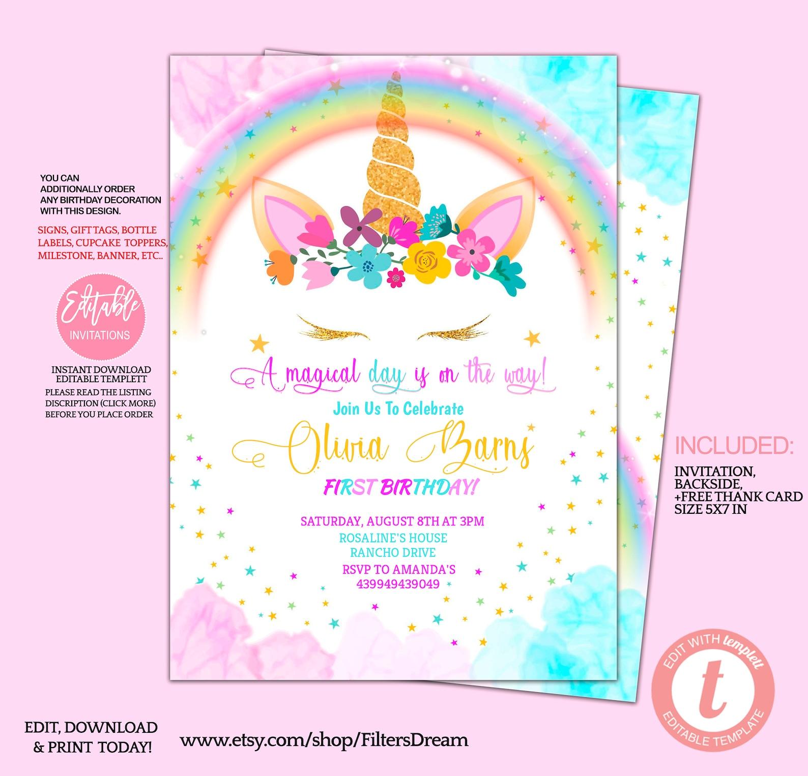 Printable Unicorn Horn Invitations Page Three