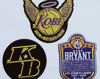 Kobe Bryant Los Angeles Lakers 3Pcs Sport Embroidery Patch,iron,sewing on Fabric