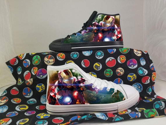Iron Man Shoes, Superhero Converse Style Shoes, Tony Stark Gift Idea, Women's Men's High Top Sneakers