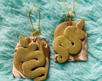 Olive Green Snakes Handmade Clay Earrings