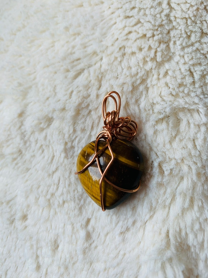 Imperfect Wire Wrapped Tiger Eye Heart in Copper Pendant