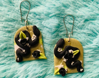 Black Snakes on Olive Green with Flora Handmade Clay Earrings