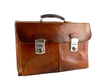 34d923ac1af 1960 VINTAGE lederen AKTETAS tas Bagage tas, oude bruine hipster geval,  Unisex handtas schooltas, originele Midcentury design Bag