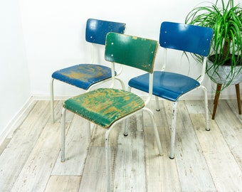 1 of 20 sturdy original 60s VINTAGE KITCHEN CHAIR blue green white Canteen chair