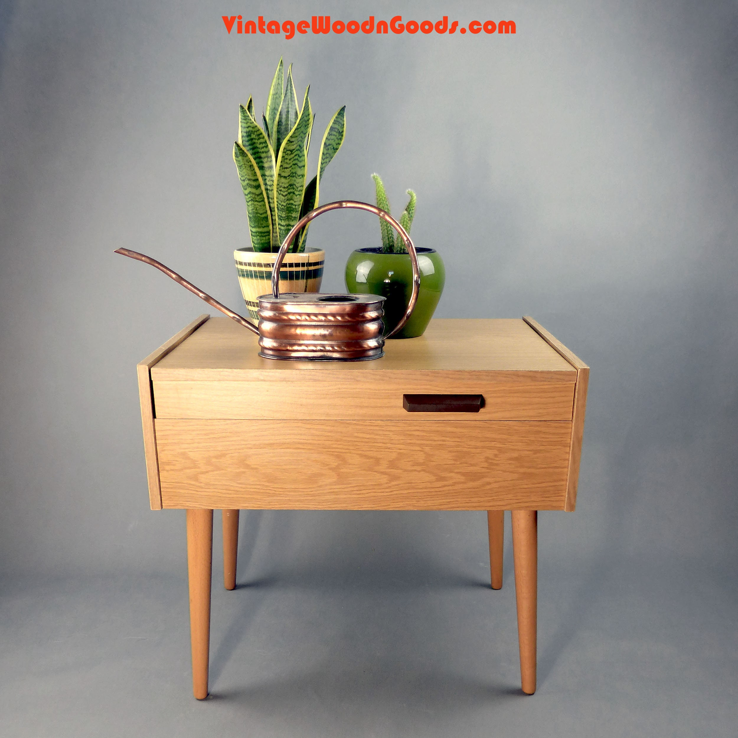 10a11a61e Vintage SIDE Table SEWING BOX 1960s on feet, string era coffee table  bedside table plant stand wooden jewelry box, knitting basket organizer