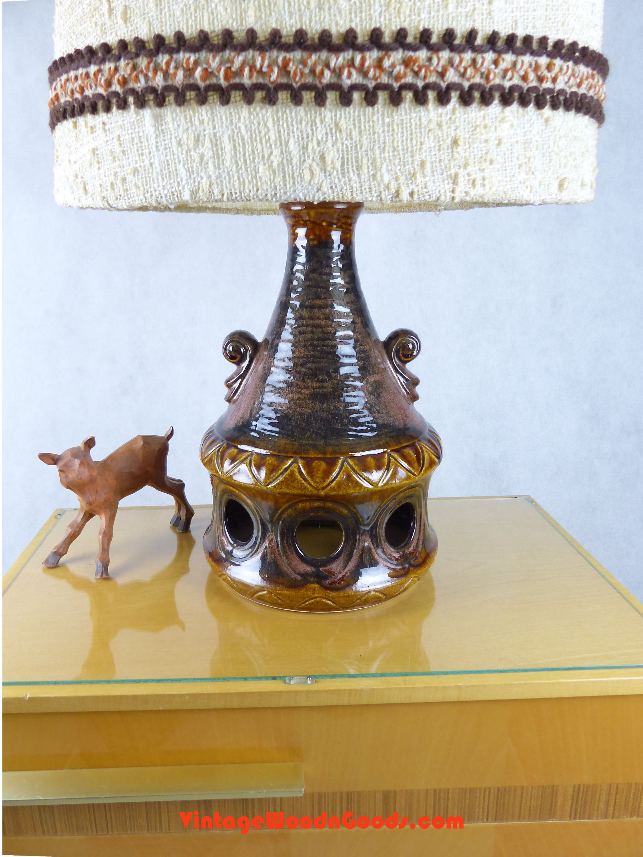 1960s Ceramic Floor Lamp Fat Lava Double Bulb Table Light 26 66 Cm High West German Pottery